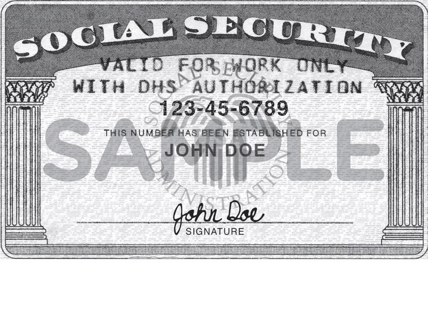 SSN number card J1 J2